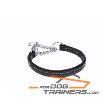 'Safe Control' Martingale Leather Dog Collar with Chrome Plated Chain 1 inch (25 mm) wide