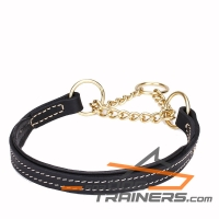 """Impossible Escape"" Martingale Leather Dog Collar with Gold-Like Plated Chain 1 inch (25 mm) wide"