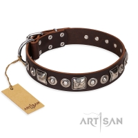 'Pierian spring' FDT Artisan Brown Leather Dog Collar with Silvery Decorations - 1 1/2 inch (40 mm) wide