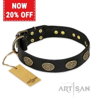 'Vintage Attraction' FDT Artisan Leather Dog Collar with Old Bronze Look Plates - 1 1/2 inch (40 mm) wide