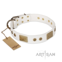 FDT Artisan 'Unforgettable Impress' Decorated Leather Dog Collar with Decorations - 1 1/2 inch (40 mm)
