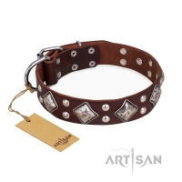 'King of Grace' FDT Artisan Stylish Leather Dog Collar with Old Silver-Like Plated Decorations 1 1/2 inch (40 mm) Wide