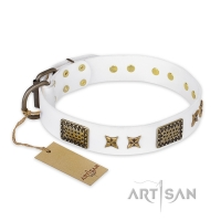 'Hour of Triumph'  FDT Artisan White Leather Dog Collar 1 1/2 inch (40 mm) wide
