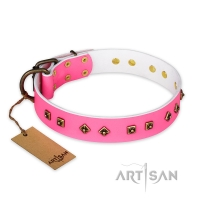 'Magic Pink' FDT Artisan Decorated Leather Dog Collar with Old Bronze-Plated Steel Hardware 1 1/2 inch (40 mm) Wide