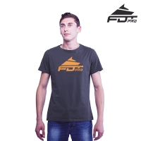 """Pro Fit"" High Quality Cotton T-shirt Dark Grey Color with Orange FDT Pro Logo"