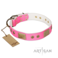 'Pink World' FDT Artisan Pink Leather Dog Collar with Old Bronze Look Plates and Studs - 1 1/2 inch (40 mm) wide