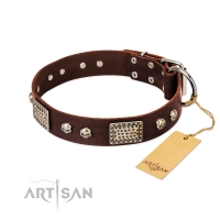 'Pirate Skull' FDT Artisan Brown Leather Dog Collar with Old Silver Look Plates and Skulls - 1 1/2 inch (40 mm) wide