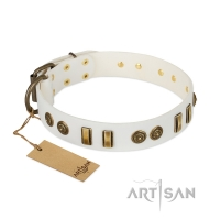 'Midsummer Snow' FDT Artisan White Leather Dog Collar with Old Bronze-like Plates and Circles - 1 1/2 inch (40 mm) wide