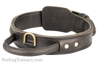 2 Ply Leather Rottweiler Collar with Handle for Agitation Training