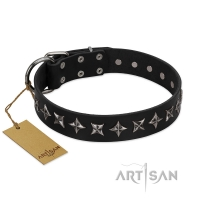 """Lights-out"" FDT Artisan Black Leather Dog Collar with Silver-like Set of Stars"