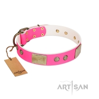 """Flower Parade"" FDT Artisan Pink Leather Dog Collar with Plates and Studs"