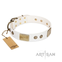 """Pure Elegance "" FDT Artisan White Decorated Leather  Dog Collar - 1 1/2 inch (40 mm) wide"