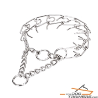 """Metal Thorns"" Chrome Plated Pinch Collar - 1/9 inch (3 mm) link diameter"