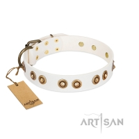 """Moonlit Stroll"" White FDT Artisan Leather Dog Collar with Antique Decorations"