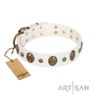"""Magic Bullet"" FDT Artisan White Leather Dog Collar with Studs and Skulls"