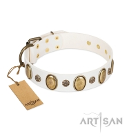 """Nifty Doodad"" FDT Artisan White Leather Dog Collar with Amazing Large Ovals and Small Studs"
