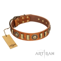 """Happy Hound"" FDT Artisan Tan Leather Dog Collar with Elegant Decorations"