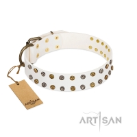 """Crystal Night"" FDT Artisan White Leather Dog Collar with Two Rows of Small Studs"