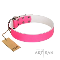 """Classic Look"" FDT Artisan Pink Leather Walking Dog Collar"