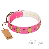 """Pawfect Lady"" Designer Handmade FDT Artisan Pink Leather Dog Collar with Ovals and Studs"