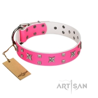 """Pink Call"" Designer Handmade FDT Artisan Pink Leather Dog Collar"