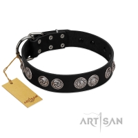 """Magic Amulete"" Handcrafted FDT Artisan Black Leather Dog Collar with Chrome-Plated Shields"