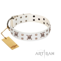 """Skull Island"" Premium Quality FDT Artisan White Designer Dog Collar with Crossbones and Studs"