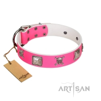 """Rosy Jack"" Modern Handmade  FDT Artisan Pink Leather Dog Collar"