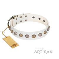 """Into the White"" Designer Handmade FDT Artisan White Leather Dog Collar"