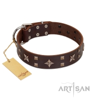 """Stars in Sands"" Modern FDT Artisan Brown Leather Dog Collar with Studs and Stars"