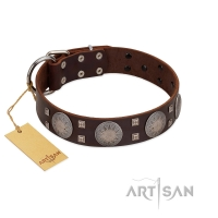 """Sun in Barchans"" Modern FDT Artisan Brown Leather Dog Collar with Engraved Stars on Round Plates and Studs"