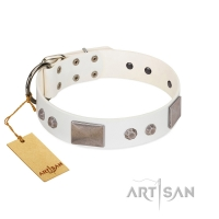 """Northen Lights""  FDT Artisan White Leather Dog Collar with Massive Plates and Pyramids"