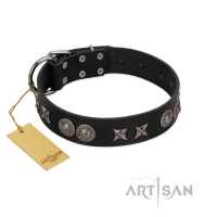 """Scythian Silver"" Stylish Handmade FDT Artisan Black Leather Dog Collar"
