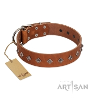 """Broadway"" Handmade FDT Artisan Tan Leather Dog Collar with Dotted Pyramids"