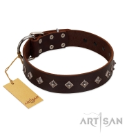 """Boundless Energy"" Premium Quality FDT Artisan Brown Designer Dog Collar with Small Pyramids"