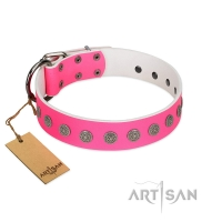 """Pop Star"" Handcrafted FDT Artisan Pink Leather Dog Collar with Round Plates"