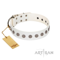 """Aztec Idol"" FDT Artisan White Leather Dog Collar with Ancient Brooches"