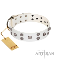 """Edgy Look"" FDT Artisan White Leather Dog Collar with Silver-like Skulls"