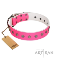 """Pink Blooming"" FDT Artisan Pink Leather Dog Collar with Silver-Like Flowers"