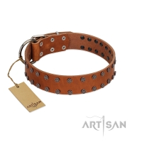 """Star Light"" Stylish FDT Artisan Tan Leather Dog Collar with Silver-Like Studs"
