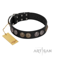 """Powerful Blow"" Designer FDT Artisan Black Leather Dog Collar with Medallions"