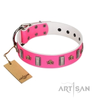 """Sea Dog"" Trendy FDT Artisan Pink Leather Dog Collar with Plates and Skulls"