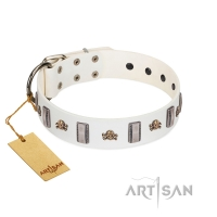 'Mysterious Voyage' FDT Artisan White Leather Dog Collar with Engraved Plates and Skulls