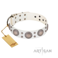 """Mystic Sunset"" Designer FDT Artisan White Leather Dog Collar with Studs"