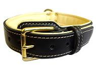 Royal Nappa Padded Hand Made Leather Dog Collar - code C443 [C443#1073 Royal Leather Dog Collar]