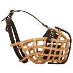 Police Style Leather Basket Dog Muzzle for Attack Training