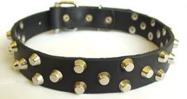 Walking and Training Wide Leather Dog Collar with Nickel Pyramids - c37