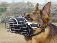 Basket wire dog muzzle and most popular leather leash Free shipping deal - M4+L1freeshipping